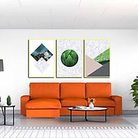 Bộ 3 tranh canvas treo tường Decor Hoa lá, hình khối cách điệu - DC083