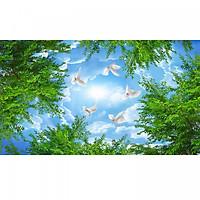 Tranh dán trần bầu trời lá xanh TN64