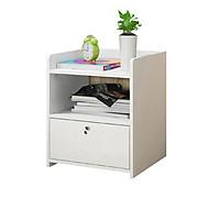 Tủ đầu giường, 1 ngăn kéo và 1 ngăn để đồ, ngăn kéo có khóa an toàn. nhỏ gọn tiện lợi cho nhiều không gian phòng ngủ, gỗ ép công nghiệp MDF phủ melamine chống thấm- dễ dàng lắp đặt, kích thước 33x26x40cm