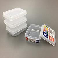 Set 4 Hộp Nhựa 100ML Dùng Được Lò Viba Japan + Tặng Hồng Trà Sữa (Cafe) Maccaca 20g