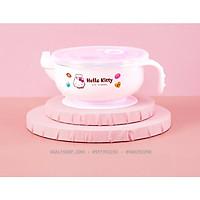 Tô ,chén giữ nhiệt inox có quai cầm tay hình mèo Hello Kitty màu trắng cho bé gái (17cm x 8cm) - CMKT002