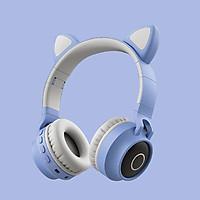 Tai nghe chụp tai kết nối bluetooth 5.0 hình mèo , kèm dây AUX, Tai mèo có led, có nhiều màu.