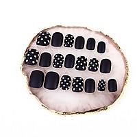 Bộ 24-28 móng tay giả đen chấm bi (CH010) tặng kèm thun lò xo cột tóc màu đen tiện lợi