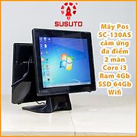 Máy POS bán hàng SC-130AS- Hàng chính hãng  (i3, 4G DDR RAM, 64G SSD, 15 inch, Black, 2 màn)