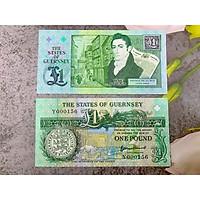 Tiền cổ vùng lãnh thổ Gurnsey 1 Pound thuộc Anh, mới 100% UNC, tặng túi nilon bảo quản