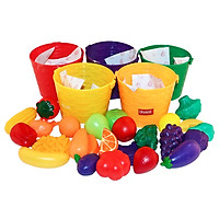 Kids Pretend Role Play 25 Pieces Fruits Vegetables & 5 Baskets Farmers Market Color Sorting Children Early Learning Cognition Toy