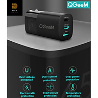 Bộ sạc nhanh đa năng QGeeM USB C 65W cho MacBook Pro Air, 2 cổng USB C PD và 1 cổng USB A, bộ sạc GaN với phích cắm có thể gập cho iPad Pro, iPhone 12 Mini Pro Max, Galaxy S10 S9, Nintendo v.v.-Hàng chính hãng