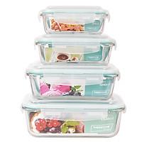 Bộ 4 Hộp Thủy Tinh Chịu Nhiệt Nắp Gài Hình Chữ Nhật Glass Happy Cook HCG-04RB