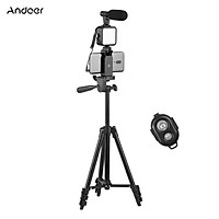 Andoer Phone Vlog Video Kit with Height Adjustable Tripod Phone Holder with Cold Shoe Microphone LED Video Light Remote