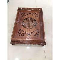 Khay trà gỗ hương, kích thươc ngang 38 cm x sâu 28cm x cao 12cm, chân chạm quỳ, có khay hứng nước thừa