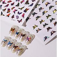Sticker bướm 3D hologram - hình dán móng bướm tráng gương BYH077