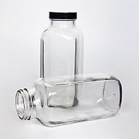 Set 6 chai thủy tinh nắp nhựa đựng sữa, nước ép cao cấp 350ml