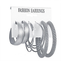 3 Pairs Of Earrings Alloy Creative Retro Style Exaggerated Golden Metal Earring Set