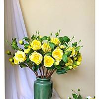 Hoa Giả Hoa Lụa - HOA TRÀ 1 CÀNH 2 BÔNG Loại 1