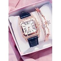 Đồng hồ nữ kèm lắc tay mặt đính đá