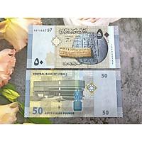Tờ tiền giấy Syria mệnh giá 50 Pounds , mới 100% UNC, tặng túi nilon bảo quản