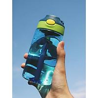 Bình nước nhựa nắp bật kèm ống hút mix màu 480ml