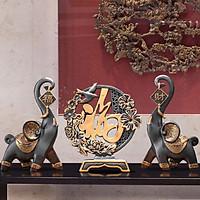 Cặp Voi Tài Lộc - Bình An mẫu xanh đen size to 20x13x32cm kèm Đồng Điếu chữ PHÚC