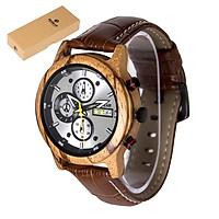 REDEAR Men Watch Quartz Movement Wood Case & Leather Strap Time & Calendar Display Luminous Pointer Stopwatch Function