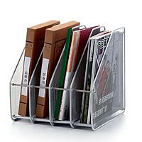 Khay đứng để hồ sơ, tài liệu văn phòng dạng đan lưới khung kim loại vô cùng chắc chắn bền đẹp - 4 NGĂN ( giao màu ngẫu nhiên)