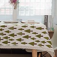 Khăn trải bàn vải bố - Họa tiết Cây thông - mẫu D07