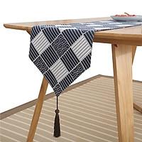 Khăn trải bàn table runner vải bố - Sóng Nhật Bản - mẫu B07