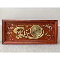 Tranh gỗ đồng hồ chữ phúc 108x48x4 gỗ hương