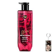 Sữa tắm nước hoa Showermate Glam Red Blossom Hàn Quốc 800ml (Hương trái cây và hương hoa) tặng kèm móc khóa