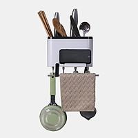 Kệ để đồ nhà bếp đa năng có khay cắm dao thìa đũa dĩa treo tường thông minh không cần khoan vít nhựa ABS cao cấp chống thấm nước có ngăn kéo để điện thoại kích thước 20 x 10 x 13cm