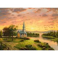 Tranh ghép hình 1000 mảnh 2cm khổ 54×74 – Tranh xếp hình Puzzle cao cấp Nhà Nguyện vào Mùa Xuân – Chapel in Spring