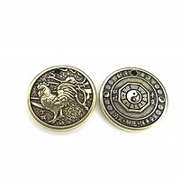 Mặt đồng xu đồng hình con Gà, làm móc đeo chìa khóa, mặt dây chuyền, quà tặng người thân, bạn bè ý nghĩa - SP002439