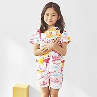 Bộ đồ ngắn tay mặc nhà cotton giấy cho bé gái U3029 - Unifriend Hàn Quốc, Cotton Organic
