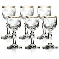 Bộ 6 ly rượu thủy tinh pha lê Glass mài sao viền vàng 24k 060 ml