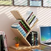 Kệ sách mini hình xương cá 3 tầng bằng gỗ MDF, dùng để đựng sách vở hoặc tài liệu, để trên bàn học hoặc bàn làm việc, hàng lắp ráp thông minh, đa năng - VÂN GỖ VÀNG