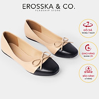 Giày bệt đế bằng thời trang Erosska kiểu dáng Hàn Quốc đế cao su da mềm đính nơ ef011