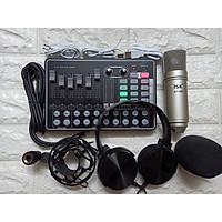 Bộ sản phẩm live stream hát karaoke Sound card H9 và Micro ISK AT-100 tặng tai phone ốp-Hàng Chính Hãng