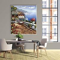 Tranh canvas phong cách sơn dầu - Phong cảnh Vịnh Địa Trung Hải - PC034