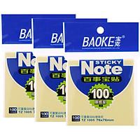 Bộ 3 Xấp Giấy Note Vàng Baoke 1005 - 76 x 76 mm (100 sheets/Xấp)