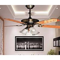 Quạt Trần Đèn Royal LG - 2060- 5 cánh gỗ kết hợp 3 chao đèn dành cho phòng khách/ phòng ăn/ phòng ngủ