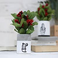 Chậu hoa giả chùm đào đông đỏ cắm sẵn lọ xi măng trang trí bàn làm việc