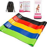Bộ 5 dây kháng lực tập Gym, dây đàn hồi Miniband đa năng tập Mông Đùi Chân, độ kháng lực cao, phiên bản nâng cấp chống trơn trượt + Tặng túi vải đựng + Sách hướng dẫn