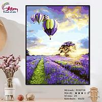 Tranh số hóa tự tô màu theo số - Tranh khinh khí cầu đồng hoa Lavender Khơi nguồn hạnh phúc mã PC0072B