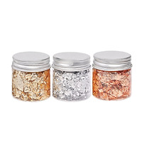 3 Bottles Golden Foil Flakes Gilding Flakes Made of Tinfoil for Metallic Foil Flakes for Nails DIY Painting Crafts Slime
