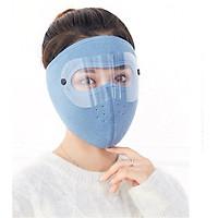 Khẩu trang ninja vải nỉ kính bảo vệ mắt dán gáy che kín tai chạy xe phượt nam nữ - khau trang ni - Đỏ đô có kính