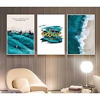 Set 3 tranh canvas đại dương tông xanh dương đậm 30x40cm DC0030