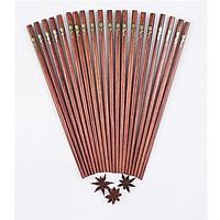 Bộ 10 đôi đũa gỗ Trắc đỏ cao cấp khảm hoa hồng đồng Lâm Nguyên D-009