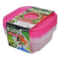 Set 3 hộp nhựa 380ml màu hồng nội địa Nhật Bản