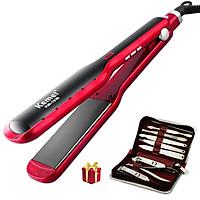 Máy duỗi tóc Kemei KM-1036 điều chỉnh 10 mức nhiệt độ có màn hình LED hiển thị tiện lợi chuyên dùng ủi tóc, là tóc, uốn xoăn, uốn cụp đuôi tóc, tạo kiểu tóc bồng bềnh Tặng kèm bộ kềm 859 làm móng 9 món có túi đựng tiện lợi