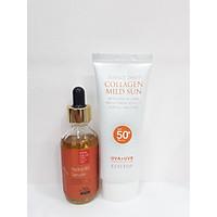 Combo serum cấp nước Hydro B5 Ecotop 50ml + Kem chống nắng Ecotop SPF50+ 70ml (Tặng 1 hộp mặt nạ Jant Blanc 10 miếng)