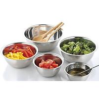 Bộ 5 tô / chậu INOX nhà bếp có vạch chia đựng thực phẩm cỡ từ 14cm đến 24cm